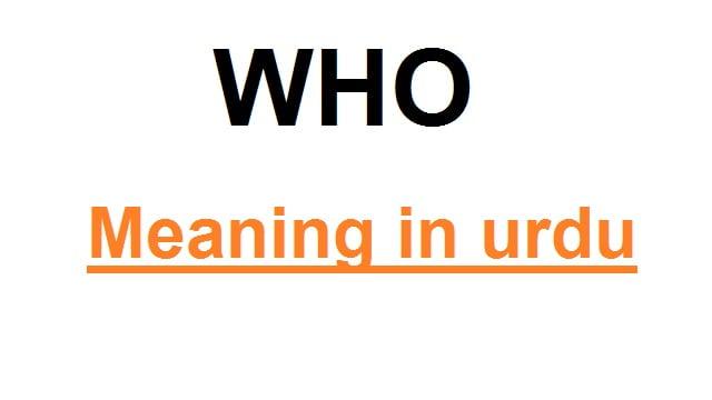 who meaning in urdu